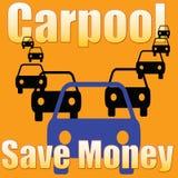 Il car pooling conserva l'illustrazione dei soldi Fotografia Stock Libera da Diritti