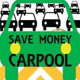 Il car pooling risparmia i soldi illustrazione di stock