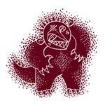 Il carattere comico, vector il mostro rosso straniero divertente impressionabile illustrazione vettoriale