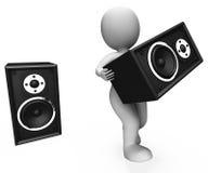 Il carattere degli altoparlanti rumorosi mostra la discoteca o il partito di musica Immagine Stock Libera da Diritti