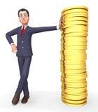 Il carattere dei soldi significa la rappresentazione di Person And Wealthy 3d di affari Fotografie Stock