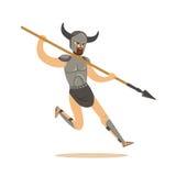 Il carattere del guerriero, l'uomo in armatura di combattimento ed il funzionamento cornuto del casco con una lancia vector l'ill Immagini Stock