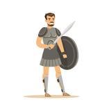 Il carattere del guerriero, l'uomo in armatura storica con la spada e lo schermo vector l'illustrazione Fotografia Stock
