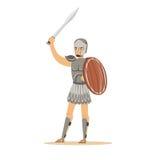 Il carattere del guerriero, l'uomo in armatura storica ed il casco che tiene lo schermo e la spada di legno vector l'illustrazion Immagine Stock