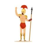 Il carattere del guerriero, l'uomo nudo in un casco e un perizoma che tiene una lancia lunga vector l'illustrazione Immagini Stock