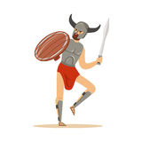 Il carattere del guerriero, l'uomo in withswprd corrente del casco cornuto e lo schermo di legno vector l'illustrazione Immagini Stock