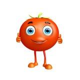 Il carattere del pomodoro con i pollici su posa Fotografie Stock Libere da Diritti