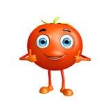 Il carattere del pomodoro con i pollici su posa Fotografia Stock