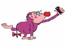 Il carattere della scimmia del fumetto fa un selfie Illustrazione di vettore illustrazione di stock