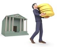 Il carattere delle monete rappresenta la rappresentazione di Person And Rich 3d di affari Immagine Stock Libera da Diritti