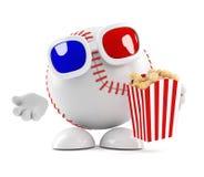 il carattere di baseball 3d mangia il popcorn ai film illustrazione vettoriale