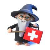 il carattere divertente del mago dello stregone del fumetto 3d indica la sua bacchetta ad un corredo medico del pronto soccorso Fotografia Stock
