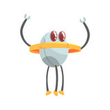 Il carattere divertente del robot del fumetto con tre gambe vector l'illustrazione illustrazione di stock