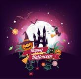 Il carattere e l'elemento di Halloween progettano il distintivo sul fondo della luna piena, il concetto di scherzetto o dolcetto, royalty illustrazione gratis
