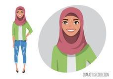 Il carattere musulmano delle donne è felice e sorridere Hijab d'uso della giovane donna musulmana royalty illustrazione gratis