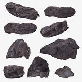 Il carbone ammassa la raccolta rovesciata su bianco Fotografia Stock Libera da Diritti