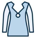 Il cardigan di miscela del cotone dei men's di progettazione del bottone ha isolato l'icona di vettore che può essere modificat illustrazione di stock