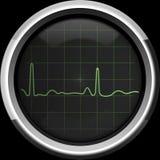 Il cardiogramma sullo schermo di cardiomonitor nei toni verdi Immagini Stock