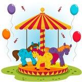 Il carosello dei bambini con i cavalli Immagine Stock