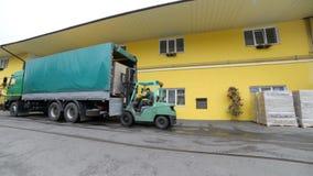 Il carrello elevatore carica i pallet con le scatole nel camion archivi video