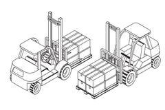 Il carrello elevatore eleva il pallet con le scatole di cartone Fotografia Stock Libera da Diritti