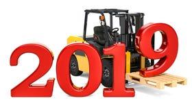 Il carrello elevatore a forcale con 2019, il nuovo anno ed il Natale consegnano il concetto illustrazione vettoriale