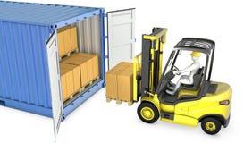 Il carrello elevatore a forcale giallo scarica il contenitore di carico Fotografia Stock