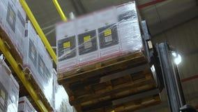 Il carrello elevatore in un grande magazzino moderno, un carrello elevatore rimuove la scatola dallo scaffale superiore archivi video