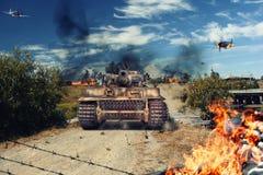 Il carro armato ha attaccato il villaggio Fotografia Stock Libera da Diritti