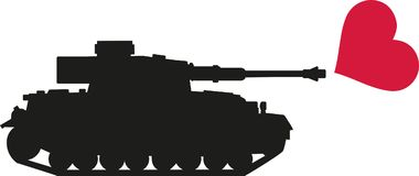 Il carro armato spara il cuore - nessuna guerra Immagine Stock