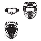 Il casco e gli occhiali di protezione protettivi del motociclo vector l'illustrazione piana nera illustrazione vettoriale