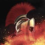 il casco spartano di alta qualità, il gladiatore romano greco del guerriero, il soldato eroico del legionario, fan degli sprts re Fotografie Stock Libere da Diritti