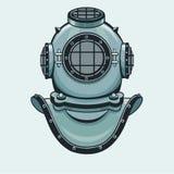 Il casco stilizzato di animazione di un'armatura antica di immersione subacquea Primo piano illustrazione vettoriale