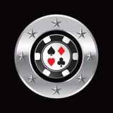 Il casinò scheggia dentro la stella d'argento del cerchio Fotografia Stock