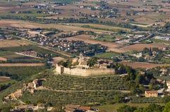 Il castello del sul Clitunno del negativo per la stampa di cartamoneta di Campello in Umbria fotografia stock