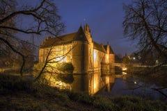 il castello dell'acqua herten la Germania nella sera Fotografia Stock