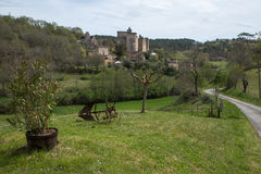 Il castello di Bonaguil - lotto et la Garonna, francese immagini stock