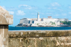 Il castello famoso del EL Morro a Avana e l'argine di Malecon Fotografie Stock