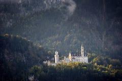Il castello famoso del Neuschwanstein nei precedenti delle montagne e degli alberi nevosi con giallo e le foglie verdi La Baviera fotografia stock