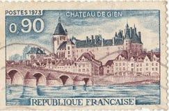Il castello francese de del francobollo gien Immagini Stock Libere da Diritti
