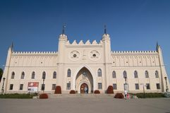 Il castello gotico neo, cominciato nel 1824, comprende le parti della fortezza reale del XIV secolo originale, Lublino, Polonia fotografia stock