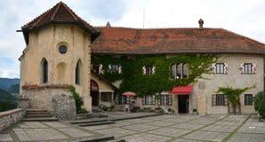 Il castello ha sanguinato la corte, Slovenia Immagine Stock Libera da Diritti
