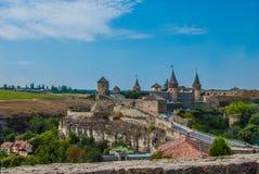 Il castello in Kamianets-Podilskyi Fotografia Stock Libera da Diritti