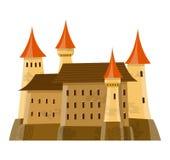 Il castello medievale leggiadramente nello stile del fumetto su fondo bianco è isolato Fotografia Stock