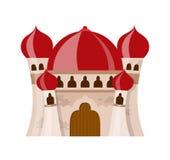 Il castello medievale leggiadramente nello stile del fumetto su fondo bianco è isolato Immagini Stock Libere da Diritti