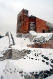 Il castello superiore tiene sulla collina di Gediminas è una parte del complesso del castello di Vilnius Fotografie Stock