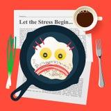 Il cattivo umore, fronte triste fa con le uova fritte ed il bacon Immagini Stock