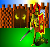 Il cavaliere con l'arma Fotografia Stock