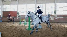 Il cavaliere della ragazza del cavallo salta sopra l'ostacolo al rallentatore stock footage