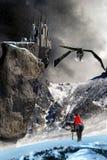 Il cavaliere, il drago ed il castello Fotografie Stock